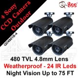 Q-See 4-pack Night & Day Color Weatherproof CCD Surveillance Security Camera Kits