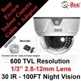Q-SEE QD6001D 600TVL 1/3″ 2.8-12mm Varifocal Sony Effio-E Super HAD CCD II CCTV Surveillance Security Dome Camera w/ 30 IR LEDs 100 FT Night Vision + Cable & Power Adapter