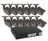 Q-See QT5716-12H4-1 16 Channel 960H DVR with 12 Weatherproof Cameras and Pre-Installed 1 TB Hard Drive (Black)