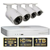 Q-See 4 Channel HD Security System with 1TB Hard Drive, 4 720p IP Cameras and 100′ Night Vision