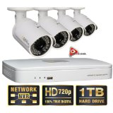 Q-See 4 Channel HD Security System with 1TB Hard Drive, 4 720p IP Cameras 100′ feet Night Vision