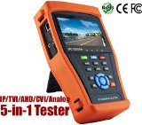 HDView® 5-in-1 Touchscreen POE CCTV Tester for IP / AHD / CVI / TVI / Analog Cameras, 1080P, BNC, 2A 12V DC Power Out, Network Cable Tester, Rechargeable Battery, WiFi, Audio-In+Out